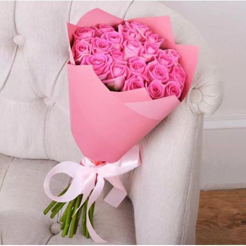 Купить на заказ Букет из 21 розовой розы с доставкой в Шахтинске